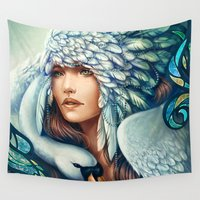 swan Wall Tapestries featuring Swan by Bea González