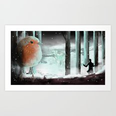 Strange lights in the woods Art Print