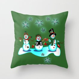 Snowman Trio Green Background Christmas Throw Pillow