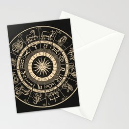 Vintage Zodiac & Astrology Chart | Charcoal & Gold Stationery Cards