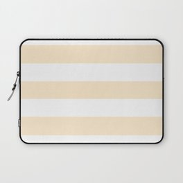 Blanched almond - solid color - white stripes pattern Laptop Sleeve