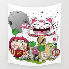 Maneki-neko in the magical world Wall Tapestry