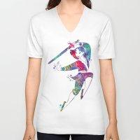 mulan V-neck T-shirts featuring Princess Mulan  by Bitter Moon