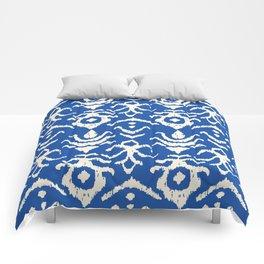Blue Ikat Damask Print Comforters