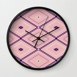 Southwestern Geometric - Blush Eggplant Wall Clock