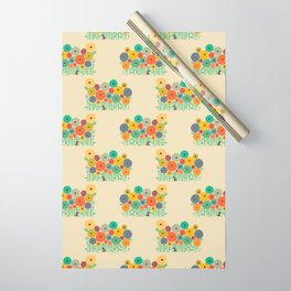 Cat in flower garden Wrapping Paper