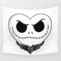 jack skellington Wall Tapestries featuring Jack Skellington Heart Art by Sam Skyler