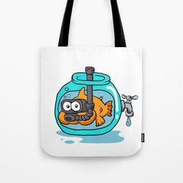 fish with snorkel in the aquarium Tote Bag