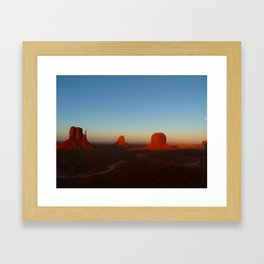 Monument Valley and moon Framed Art Print