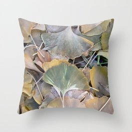 Fall Ginko Leaves Throw Pillow