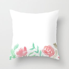 Pink Florals And Mint Leaves Throw Pillow