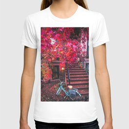 New York City Brooklyn Bicycle and Autumn Foliage T-shirt
