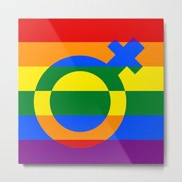 Gay Pride Rainbow Flag Girl Woman Gender Female Metal Print