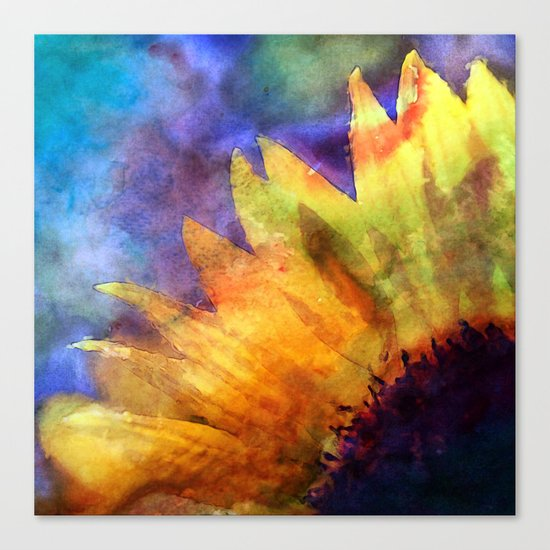 Sunflower Flower Floral on colorful watercolor texture Canvas Print