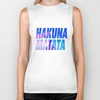 hakuna Biker Tanks featuring HAKUNA MATATA Typography by Poppo Inc.