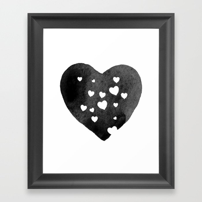 Grey Hearts Framed Art Print
