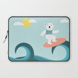 Polar bear surfing. Laptop Sleeve