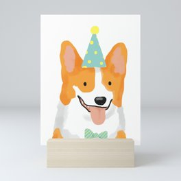 Birthday corgi Mini Art Print