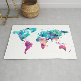 World Map Turquoise Pink Blue Green Rug