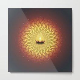 Сontemplation. Sacred geometry mandala, candle and lotus Metal Print