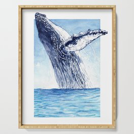 Breaking the Breach - Whale Watercolor Serving Tray