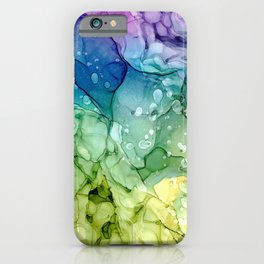 Purple Blue Green Yellow Abstract 2621 Alcohol Ink Painting by Herzart iPhone Case