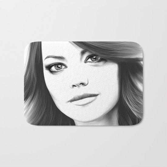 Emma Stone minimalist digital portrait Bath Mat