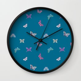 Christmas jeweled butterflies on teal, butterfly, jewels, precious, butterflies, new year, t Wall Clock