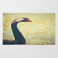 black swan Area & Throw Rugs featuring Black Swan by Joëlle