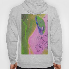 Fluid Art Acrylic Painting, Pour 30, Pink, Green & Purple White Blended Color Hoody