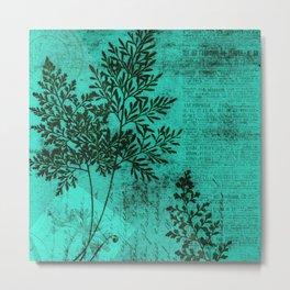 Botanical Turquoise Metal Print