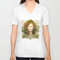 elf V-neck T-shirts featuring Elf Nouveau by hkxdesign