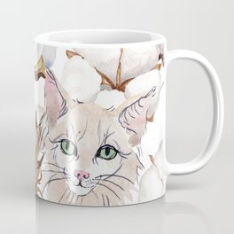 Cotton Flower & Cat Pattern 01 Coffee Mug