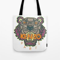 kenzo Tote Bags featuring Kenzo Tiger with seams by cvrcak