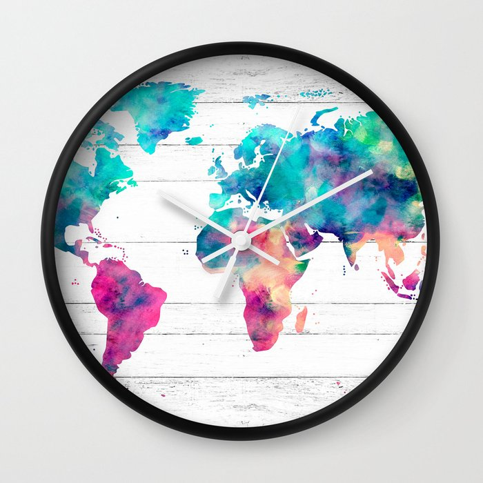 World map watercolor paint on white wood wall clock by mapmaker world map watercolor paint on white wood wall clock by mapmaker society6 gumiabroncs Image collections