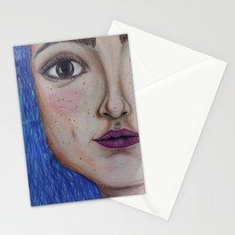 La chica de pelo azul Stationery Cards