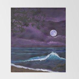 Romantic Kauai Moonlight Throw Blanket