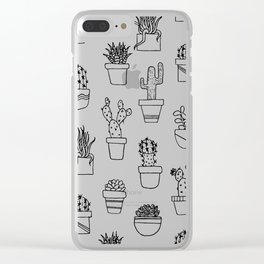 Cactus Line Art Pattern Clear iPhone Case