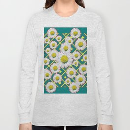 Teal Color Shasta Daisies Lime Pattern Art Abstract Long Sleeve T-shirt