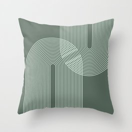 Geometric Lines in Sage Green 2 (Rainbow Abstraction) Throw Pillow