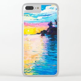 Sunset Landscape on Tropical Island Clear iPhone Case