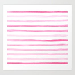 Pink and White Painted Watercolour Stripes Pattern Art Print