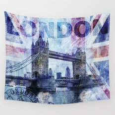 London Tower Bridge mixed media Art and Typography Wall Tapestry