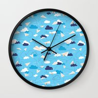 airplanes Wall Clocks featuring Paper Airplanes by Polita