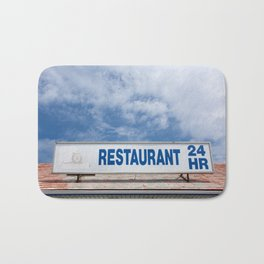 Open 24 Hours. Bath Mat