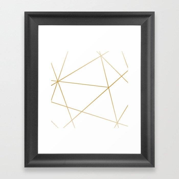 geometric gold and white Gerahmter Kunstdruck