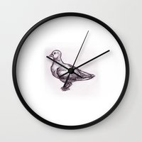study Wall Clocks featuring Pigeon Study by Ken Coleman