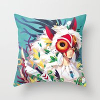 princess mononoke Throw Pillows featuring Princess Mononoke by Stephanie Kao