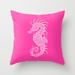 Intricate Pink Tribal Seahorse Design Throw Pillow