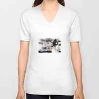 les miserables V-neck T-shirts featuring Miseria de los miserables (color version) by Niko Bleach
